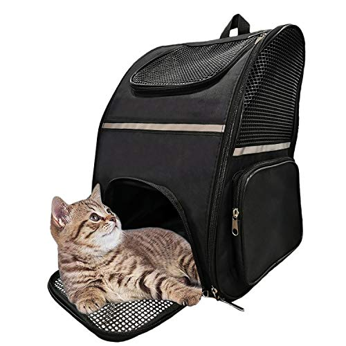 JIUHAN Pet Carrier Backpack for Cats and Small Dogs, Puppies Fit Up to 15lb,Fully Ventilated Design, Buckle Support for Walking, Pet Backpack Carrier for Travel Hiking Camping Outdoor Activity Black