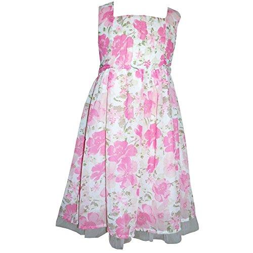 IJzeren - zomerjurk jurk feestjurk, wit-roze