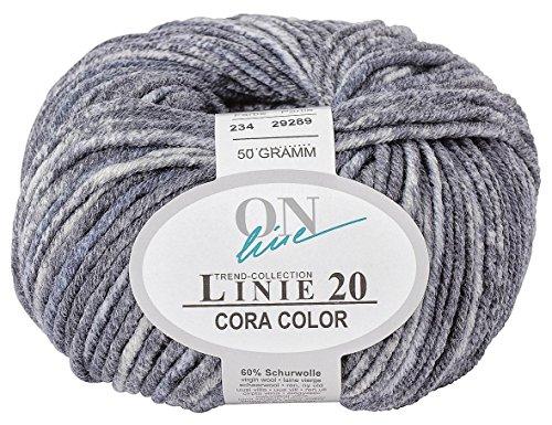 50 gr. Cora-Color Fb. 234 marmor, Brandneu, Strickwolle, Merinowolle, Online, Linie 20