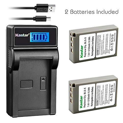 Kastar Battery (X2) & Slim LCD Charger for Olympus BLS-5 PS-BLS5 and Olympus OM-D E-400 E-410 E-420 E-450 E-600 E-620 E-P1 E-P2 E-P3 E-PL1 E-PL2 E-PLE15 E-PM1 E-PM2 E-M10 E-PL6 E-PL5 Stylus 1 Camera