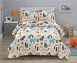Junsey Kids Quilt Bedspreads Twin Size Bear Coverlet Set,3Pcs Forest Tree Deer Printed Quilts Set Lightweight Cartoon Bedspread Reversible Bedding Cover Pillow Shams