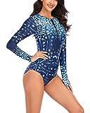 X-xyA Cremallera para Mujer Protección UV De Una Pieza Traje De Baño Rash Guardia De Manga Larga Atlético Surf Traje De Baño, SY-2232,Azul,M