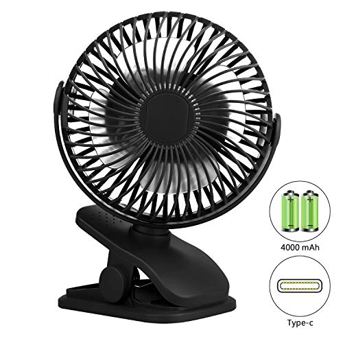 Tutuko Clip on Stroller Fan, Battery Operated Rechargeable 4000mAh Mini Desk Fan, 4 Speeds Ultra-Quiet Portable Fan, 360° Bendable USB Powered Personal Clip Fan for Baby Carriage, Office, Home, Outdoor, Black