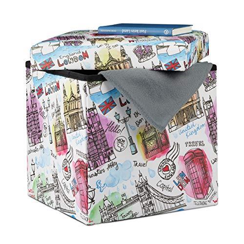 Relaxdays Sitzhocker mit Stauraum, Aufbewahrungsbox mit London Motiv, faltbarer Sitzwürfel HBT: 38 x 38 x 38 cm, bunt