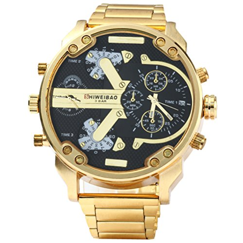 VORCOOL shiweibao 3137Men Dual Time Display quarzo Wrist Watch with Stainless Steel Band (Golden Black)