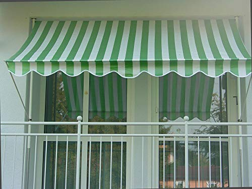 Angerer - Tenda a Righe in polietilene, Fissaggio a Morsetto, Colore: Verde