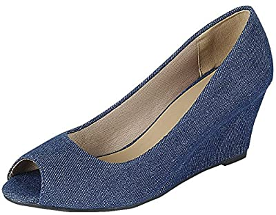 Forever LinkPeep Toe Slip on Pump (10 B(M) US, Denim)