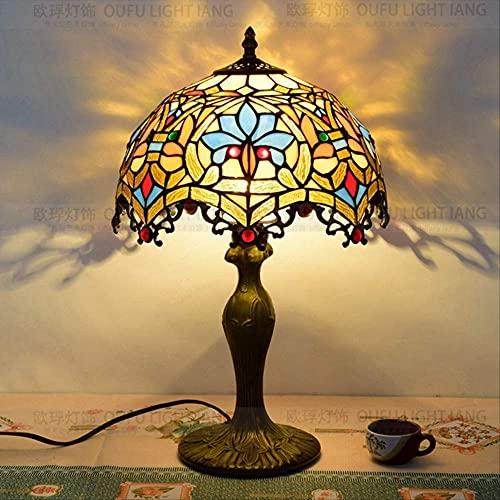 Lámpara de Mesa Retro Tiffany Lamps for Living Room 12In European Tiffany Color Glass Barroco Bar Restaurante Ktv Cafetería Dormitorio Lámparas de mesita de Noche Lámparas