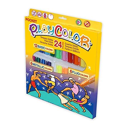 Instant Playcolor Pocket - Témpera Solida (Surtidos, 24 Unidades, Basic, Metallic, Fluo)