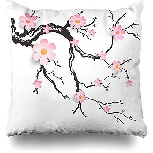 KerClara-weiwin-pillowcases Throw Pillow Cover Art Pink Bloom Cut Branch Cherry Shape Blossoms Bud Floral Flower Hieroglyph Design Home Decor Cushion Case