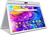 Tablet 3G LTE + WIFI da 10.1'' Pollici HD IPS con Processore Quad-Core,Tablet Android 9.0 da 32GB ROM Espandibili 128GB,Batteria 6000mAh,Dual SIM,Doppia Fotocamera,GPS/Bluetooth/OTG/FM(Bianca)