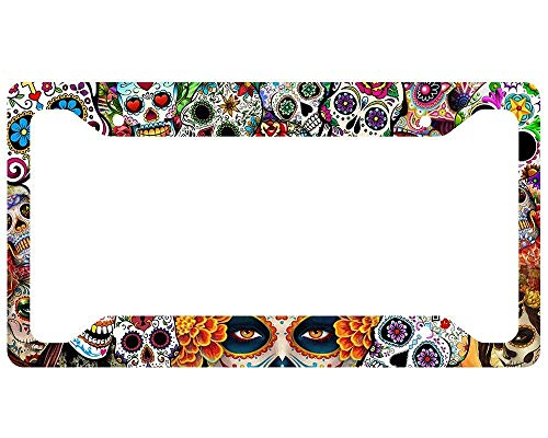 Sugar Skull Aluminum Metal License Plate Frame Tag with Chrome Screw Caps - Car License Plate Covers for US Vehicles