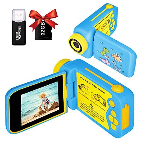 Kids Video Camera, 1080P HD DV Digital Dinosaur Kids Camera Camcorder with 2.4 inch 270 Degree Rotation Screen, Children Camera with 32GB SD Card for Age 3-10 Toddler Kids Best Birthday Gift Toys