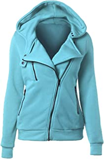Hoodie Jackets Thermal Long Diagonal Zipper Up Coat Hooded Warm Casual Sweatshirt Outwear