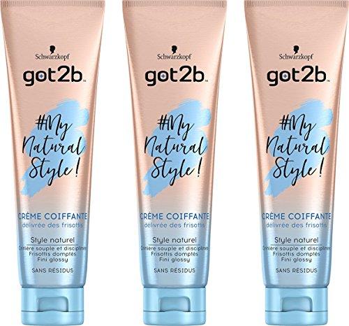 got2b - My Natural Style - Crème Cheveux - Délivrée des Frisottis 150 ml - Lot de 3