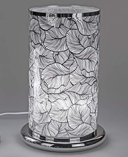 formano Tischlampe, Leuchte BLÄTTER H. 38cm D. 25cm mit Touch Silber F20