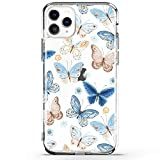 RXKEJI iPhone 11 Pro Max Case Clear Cute Girls Floral Design TPU Soft Slim Flexible Silicone Cover Phone Case for iPhone 11 Pro Max 6.5 inch 2019 - Butterfly Blue