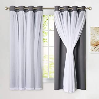 PONY DANCE Blackout Curtains with Sheer - Sheer Linen Drapes with Grommet Window Treatments Decoration for Girls' Bedroom, 52 x 63 in, Grey, 2 Panels