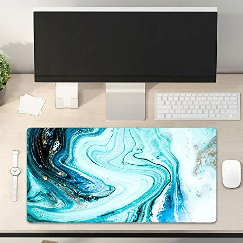 Desk Pad Non-Slip PU Leather Desk Mat Marble Pattern Oil Movement Splash Gold Teal Blue Colors Gaming Mouse Pad Keyboard Laptop Desktop Computer Mat for Office Home 31.5' x 15.7'