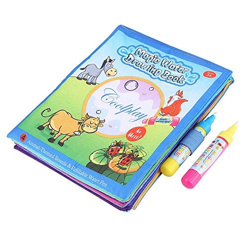 Zerodis Livre de dessin et coloriage à l'eau pour l'éducation précoce des enfants, livre en tissu avec styloe à eau pour peinture, coloriage, graffiti pour enfants et tous petits