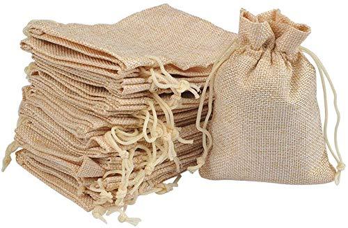 FGF-EU 20 bolsas de arpillera con cordón de regalo bolsas de Navidad bolsas de regalo de boda – 9 cm x 12 cm (beige)