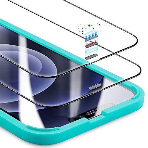 ESR Protector de Pantalla Armorite Compatible con iPhone 12 and 12 Pro, Protector de Pantalla de Cristal Templado ultrarresistente con Protector para Altavoz Integrado, 2 Unidades