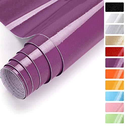 Selbstklebende Dekorfolie Fotofolie Wandaufkleber Wandsticker (Lila, 61 * 500cm) aus PVC wasserfest Folie Tapete für Möbel Küche Tür & Deko