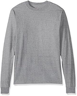 Hanes Men's Beefy Long Sleeve Shirt, Light Steel, XL