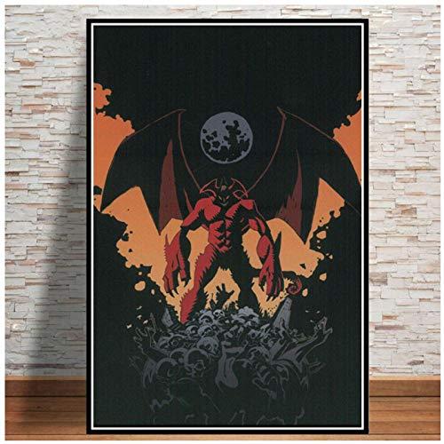 wzgsffs Devilman Crybaby Japón Anime Póster E Impresiones Arte De Pared Impresión En Lienzo para Sala De Estar Hogar Dormitorio Decorativo-24X32 Pulgadas X 1 Sin Marco