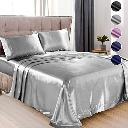 Satin Sheets Full Size Bed 4 Pieces 5 Colors Silky Satin Sheet Set Satin Bed Set with 2 Pillowcase Satin Fitted Sheet  Grey Satin Sheets Satin Bed Sheets Full Satin Bedding Set