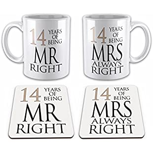Set of Mr Right & Mrs Always Right Anniversary (14th Ivory) Novelty Gift Mugs w/Matching Coasters:Viralbuzz