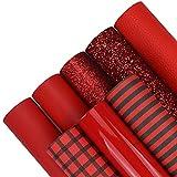 8 Stück 20,3 x 30,5 cm rote Serie Kunstlederblätter