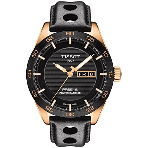 Tissot T100.430.36.051.00 Men's T Sport PRS 516 Black Leather Strap Black Dial Automatic Watch