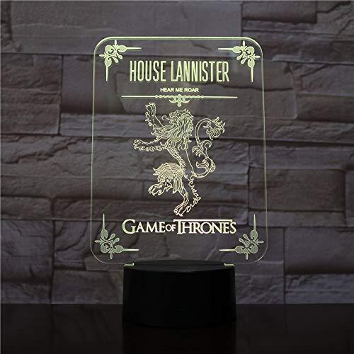 Solo 1 pz House Lannister Logo LED Night Touch Touch Sensor 7 Cambio colore Bambini Bambini Hear Me Roar Game movie Lampada da comodino