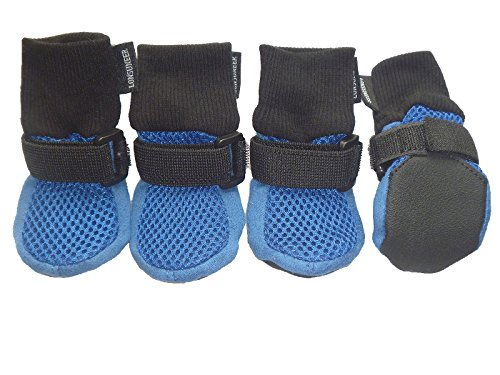 Lonsuneer Dog Boots Breathable and Protect Paws with Soft Nonslip Soles Blue Color Size XS - Inner Sole Width 1.97 Inch