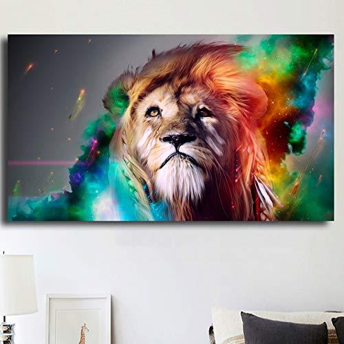 HD schilderij canvas olieverfschilderij muurkunst abstracte kleurrijke leeuw dier woonkamer decoratie frameloos schilderwerk
