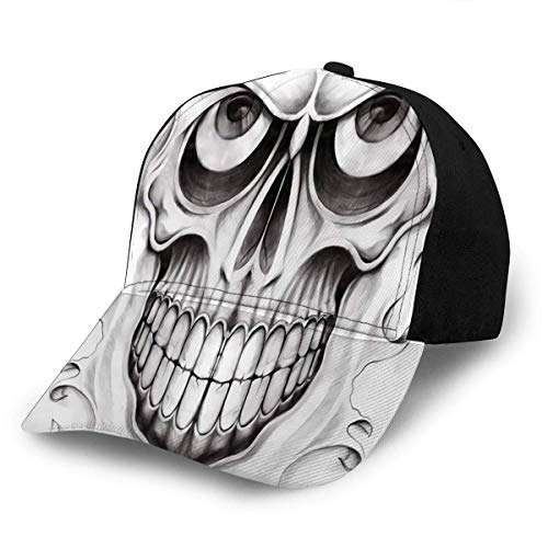 Beibao-shop Gorra de Sombrero Gorra de béisbol Sombreros Cráneo Ajustable Tatuaje Dibujo a lápiz a Mano sobre Papel Se Adapta a Hombres