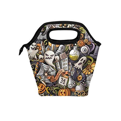 Bolsa de almuerzo con cremallera aislada de Halloween Bolsa de asas más fresca Fiambreras fantasma Fiambreras Preparación de comidas