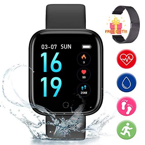 Smart Pulsera Fitness Tracker- Reloj Inteligente para Hombres Mujeres Bluetooth Rastreador de Actividad con Monitor de Ritmo Cardíaco Podómetro Mensajería Notificaciones Android y iOS (Negro)