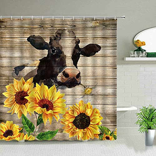 MIKUAM DuschvorhangBlume Highland Kuh Thema Duschvorhänge Bauernhof Tier 3D Print Wasserdichtes Tuch Badezimmer Vorhang Set Badewanne Kunst Dekor Mit Haken