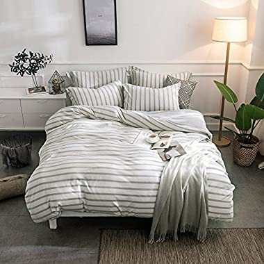 Merryfeel 100% Cotton Jersey Weave Duvet Cover Set - (King,Grey Stripe)