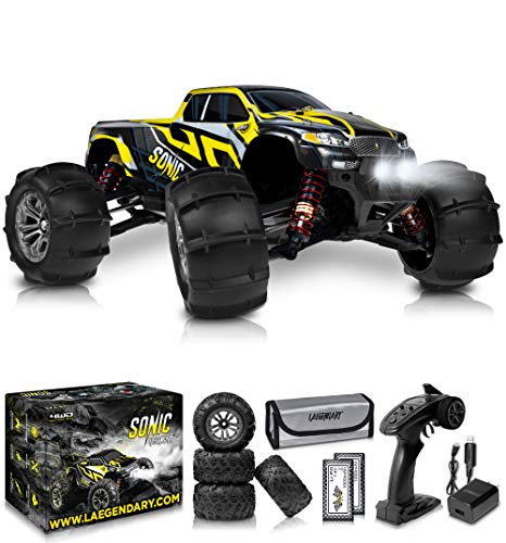 1:16 Brushless Large RC Cars 60+ kmh Speed - Kids and Adults Remote Control Car 4x4 Off Road Monster Truck Electric - All Terrain Waterproof Toys Trucks for Boys, Girls - 2 Batteries for 40+ Min Play
