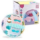 Ballylelly Campana agitadora de Mano con Bola de sonajero para bebés con luz de Sonido Juguete Educativo de Desarrollo sensorial para bebés pequeños
