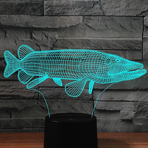 Jinson well Lámpara 3D con diseño de peces, ilusión óptica, luz nocturna 7 cambios de color interruptor táctil mesa de escritorio lámpara decorativa lámpara con acrílico