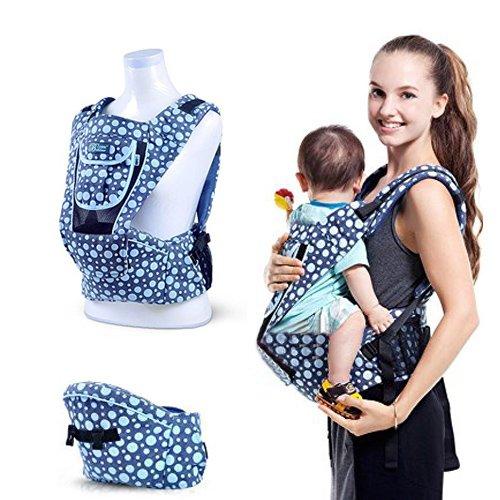 Amzdeal Mochila Portabebé Mochila ajustable al tamaño, Portabebés de diseño Ergonómico,para bebés y niños pequeños de 3 - 36 meses Color Azul