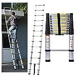 5M/16.4ft Aluminum Extension Folding Telescopic Ladder Straight Telescoping Ladders Capacity 150kg/330lb with Certificate EN 131