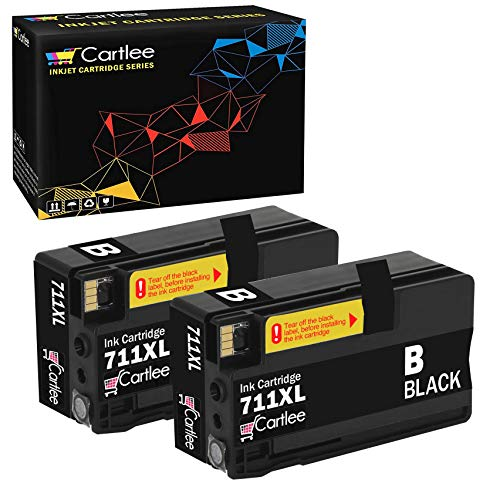 Cartlee Set of 2 Black Compatible 711 711XL High Yield Ink Cartridges for HP Designjet T120 T520 Series Printers