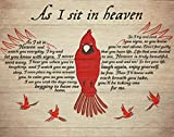 Vintage Tin Sign Cardinal That Fell from the Sky When I Was Sitting in Heaven. Home Wall Decoration. House Garage Bar Decoration Sign. 12 X 8 Inches.