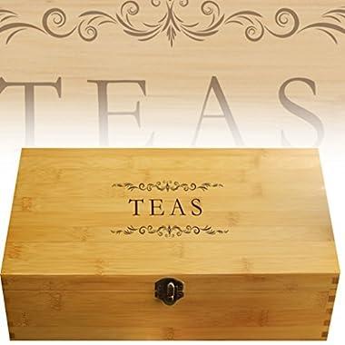 Multikeep Adjustable Tea Box 128 Tea Bag Storage Organizer Bamboo Latching Lid (Tea Filigree)