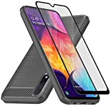 Muokctm Samsung Galaxy A50 Case, with Tempered Glass Screen Protector, Slim Soft TPU Protective Rubber Bumper Case Cover for Samsung Galaxy A50 Phone TPU Grey